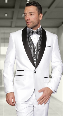 Statement White Modern Fit 3 Piece Evening Suits Capri 38 Short Final Sale - click to enlarge