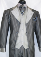 Milano Moda Black Shiny Stripe Cuff Sleeve Men Suits 2911V
