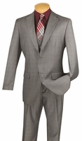 Vinci 3 Piece Suit Mens Gray Window Pane Pattern V2RW-11