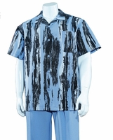 Walking Suit for Summer Mens Blue Brush Pattern Outfit M2965