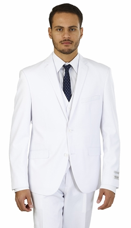 White Slim Fit 3 Piece Suit Mens Skinny Style Lorenzo Bruno TS62KR - click to enlarge