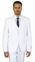 White Slim Fit 3 Piece Suit Mens Skinny Style Lorenzo Bruno TS62KR