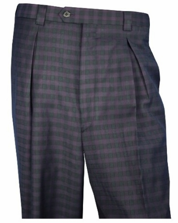 Blu Martini Mens Pleated Gingham Plaid Dress Pants 5412 Arch - click to enlarge