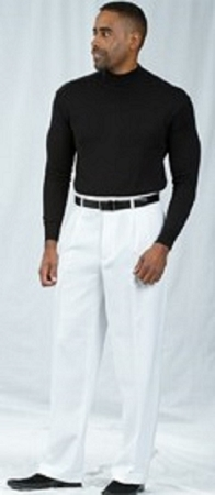 Pacelli White Pleated Baggy Fit Dress Pants 810015 - click to enlarge