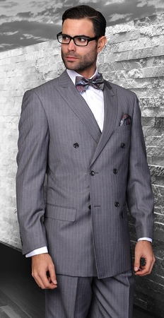 Wool Double Breasted Charcoal Pinstripe Suit Alberto DB-1 pin - click to enlarge