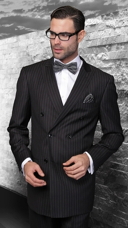 Wool Black Pinstripe Double Breasted Suit Alberto DB-1 Pin - click to enlarge