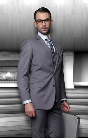 Mens Wool Suits Charcoal Grey 2 Button by Statement TZ-100 - click to enlarge