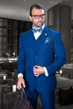 Wool Mens Suits Sapphire Blue 2 Button by Statement TZ-100 - click to enlarge