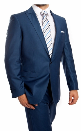 Young Men's Slim Fitted Suit New Blue One Button Flat Front Tazio M211S-07 - click to enlarge