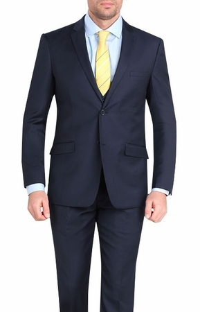 Young Mens Slim Fit Cut Suits Navy Stylish Tapered Leg M211S - click to enlarge
