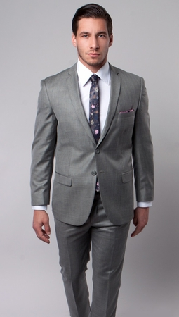 Young Mens Slim Style Suits Heather Tan Sharkskin Vented Back Tazio M181S-05 - click to enlarge