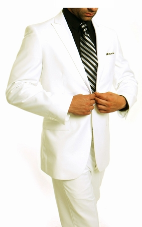 Young Mens White Tight Slim Fit Suit 1 Button Flat Front Tazio M211S - click to enlarge