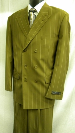 Zacchi Mens Taupe Wide Space Stripe Double Breasted Suit 15587 - click to enlarge