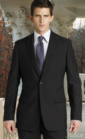 ZeGarie Black Italian Design 2 Button Wool Suit MW122 - click to enlarge