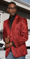 Manzini Red Shiny Paisley Entertainer Jacket MZS-140