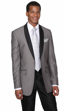 Milano Moda Young Mens Gray Slim Fit Red Carpet Evening Suit 5601 - click to enlarge