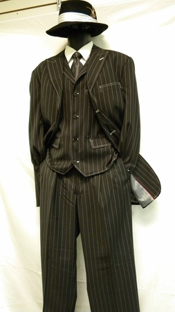 Zoot Suits Black White Gangster Stripe 3 Piece Milano Moda 5903V - click to enlarge