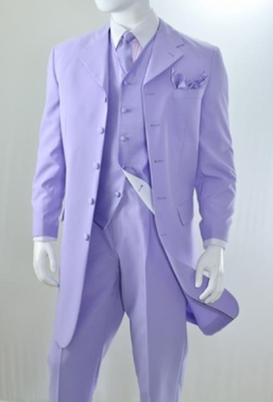Zoot Suit Lavender Mens 3 Piece Long Jacket Milano 7903V - click to enlarge