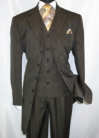 Zoot Suit Mens Brown Shiny Stripe 3 Piece Fortini 29198 Size 52 Reg Final Sale