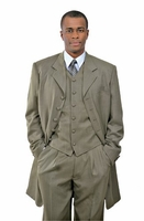 Zoot Suit Taupe Khaki Mens 3 Piece Long Jacket Milano 7903V