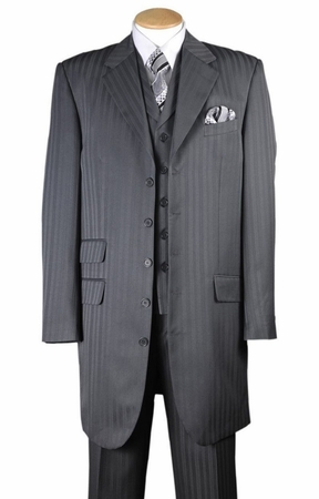 Zoot Suit Mens Gray with Gray Stripe Three Piece Vested Fortini 29198 - click to enlarge