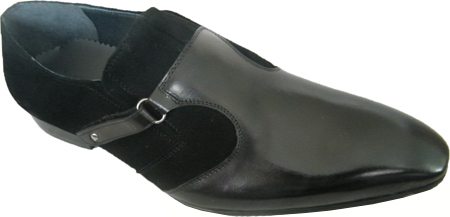 Zota High Fashion Black Suede and Leather Strap Loafers HX731-311