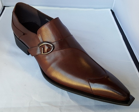 Zota Mens Brown Leather Buckle Slip On Shoe G737A-2P - click to enlarge