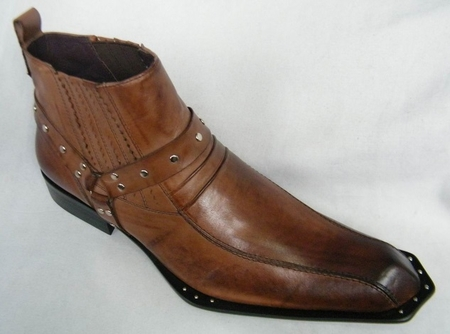Zota Mens Brown Unique Pointy Toe Leather Boots G4H937 - click to enlarge