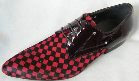 Zota Mens Suede and Patent Leather Red and Black Checkered Fashion Shoe HX750-307  - click to enlarge