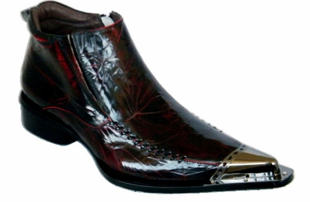 Zota Mens Burgundy High Fashion Metal Toe Leather Boots G4H908-5  - click to enlarge