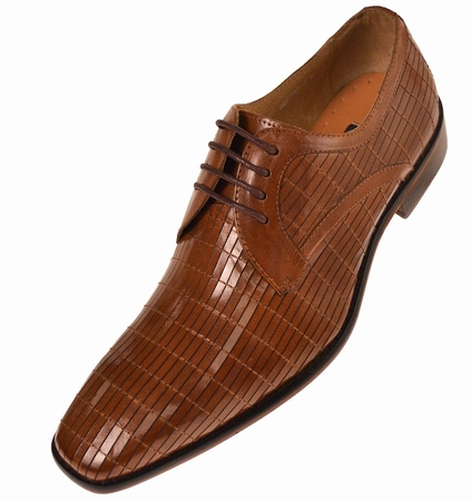 Steven Land Mens Tan Pattern Leather Dress Shoes SL752 IS - click to enlarge