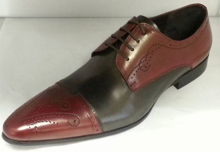 Zota Shoes Burgundy Gray Pointy Cap Toe HX705-302  - click to enlarge