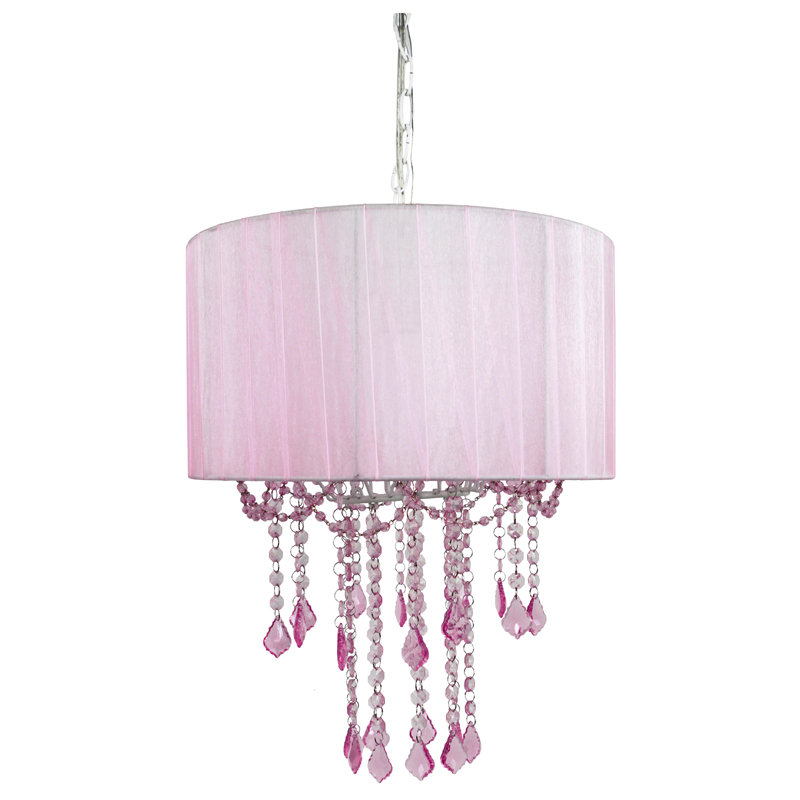 1 light pink sapphire shaded chandelier by sleeping partners for Chandelier light for girls room