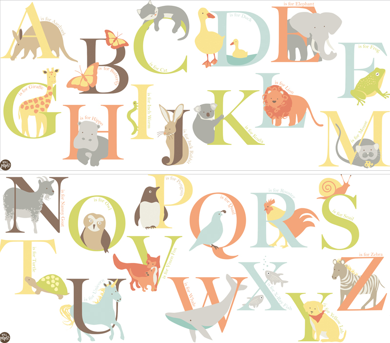 Alphabet zoo wall decals for Alphabet wall mural
