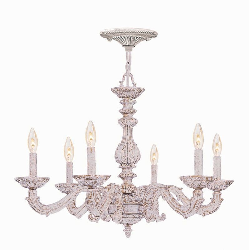 Antique White Wrought Iron Chandelier By Crystorama