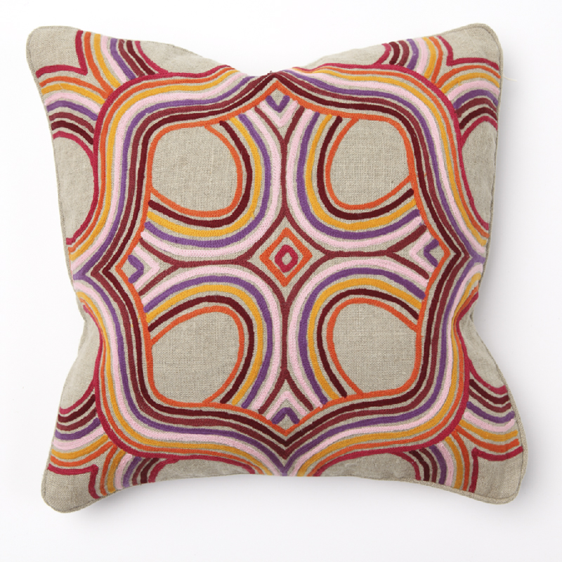 Artista multi color embroidery throw pillow by villa home for Villa home collection pillows