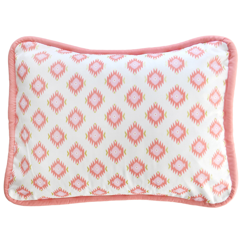 Throw Pillows With Coral : Aztec in Coral and Gold Throw Pillow by New Arrivals Inc.