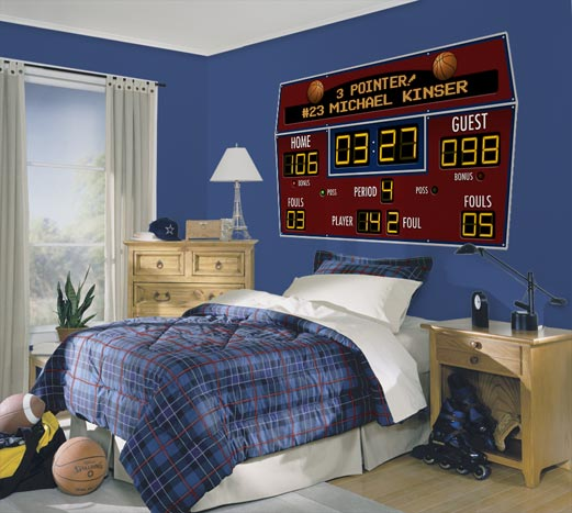 Basketball scoreboard personalized peel and stick wall mural - Comely pictures of basketball themed bedroom decoration ideas ...