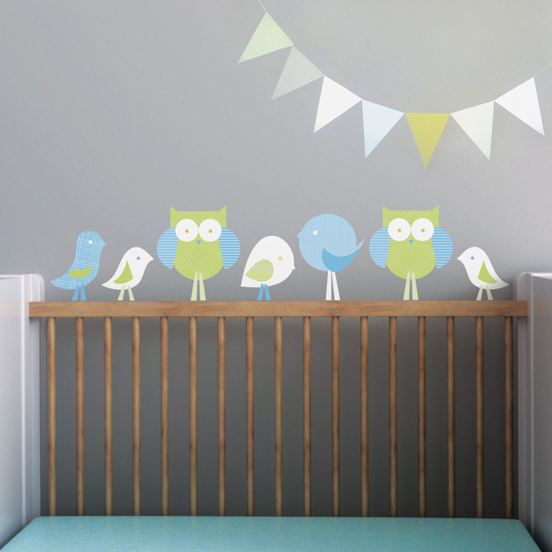 birds and owls wall decal by trendy peas. Black Bedroom Furniture Sets. Home Design Ideas