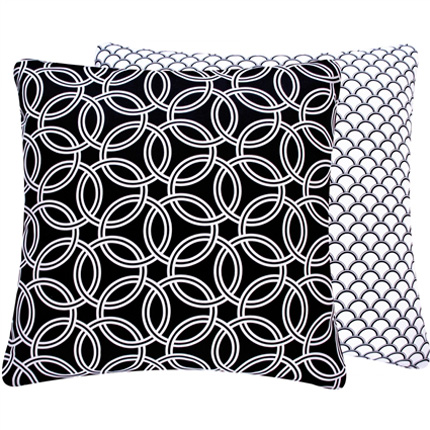 Black and White Circles Large Throw Pillow - RosenberryRooms.com