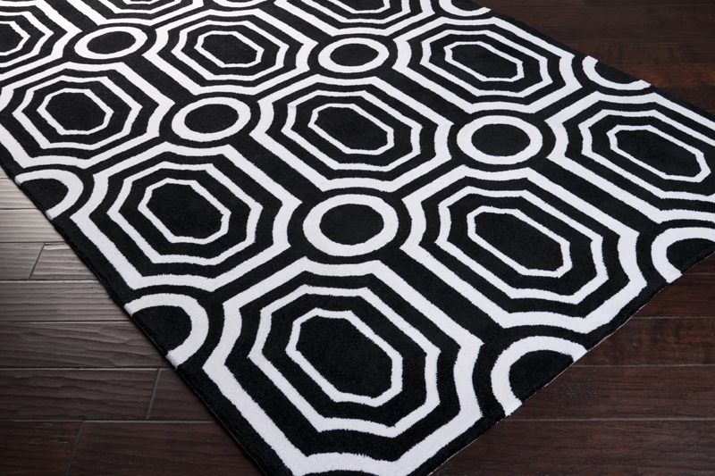 Black and White Geometric Hudson Park Rug by Surya