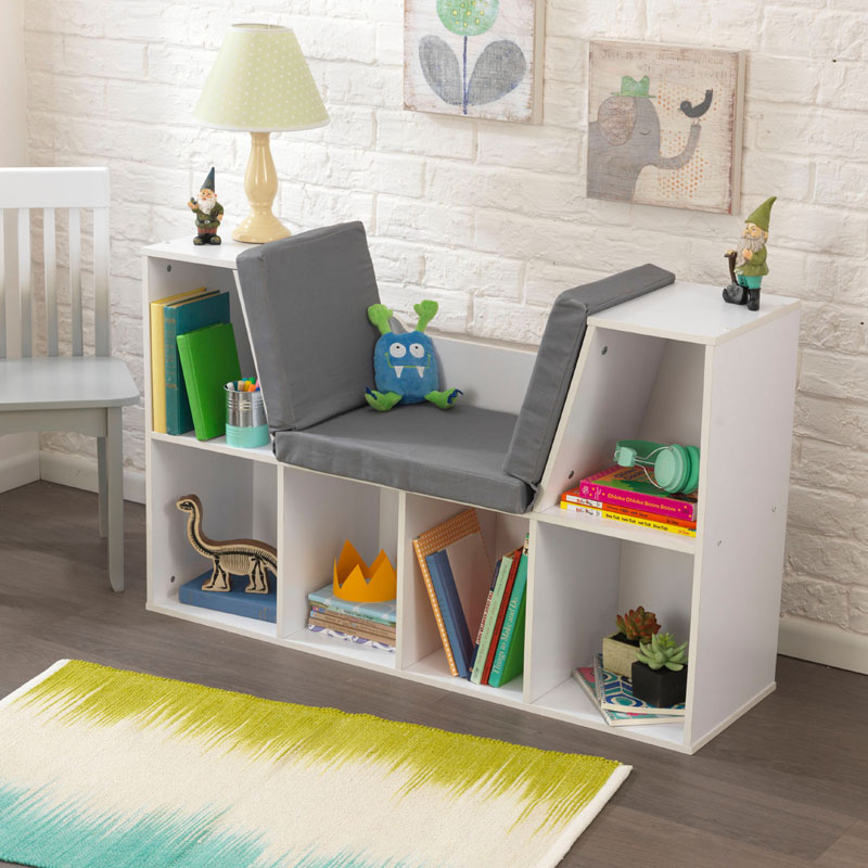 Bookcase with reading nook white by kidkraft for White bookcase for kids room