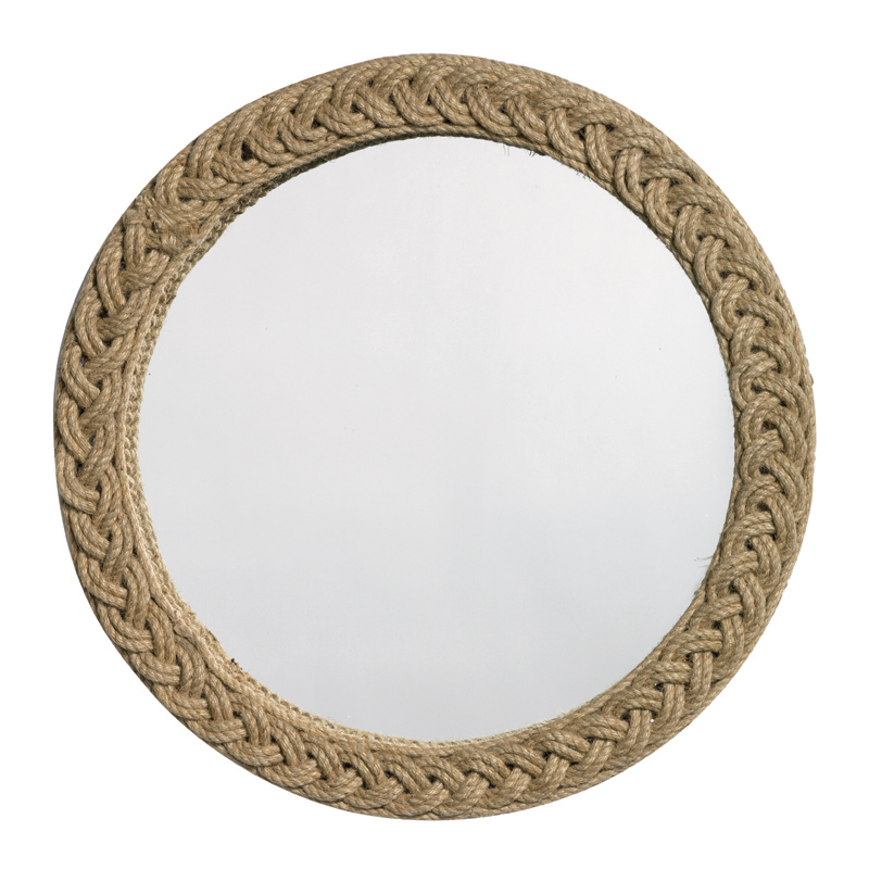 Braided Large Round Jute Mirror By Jamie Young