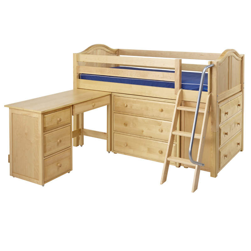 Kicks low loft bed with dressers and desk for Loft bunk bed with desk