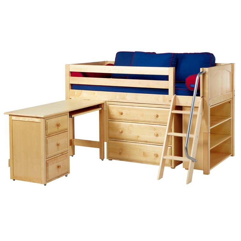 Kicks Low Loft Bed With Dressers Bookcase And Desk