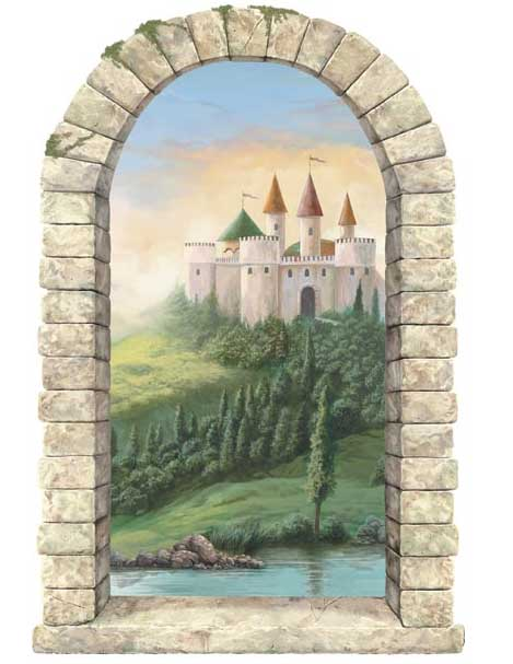 Castle window peel and stick wall mural for Castle wall mural sticker