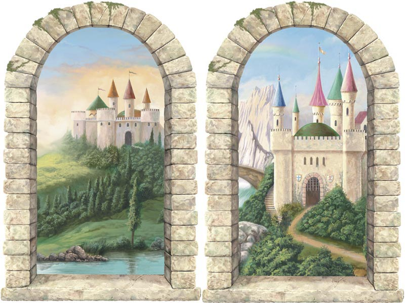 Castle window pre pasted wall mural set of 2 for Castle window mural