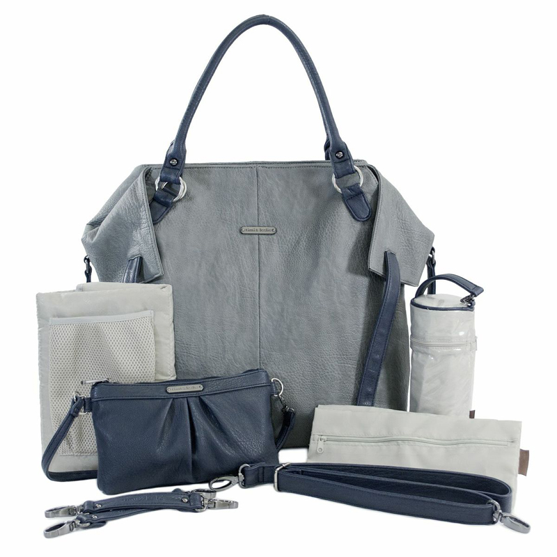charlie diaper bag gray and navy by timi leslie. Black Bedroom Furniture Sets. Home Design Ideas