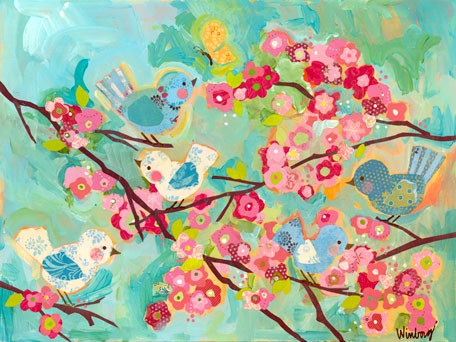 Cherry blossom birdies canvas wall art by oopsy daisy for Cherry blossom canvas painting