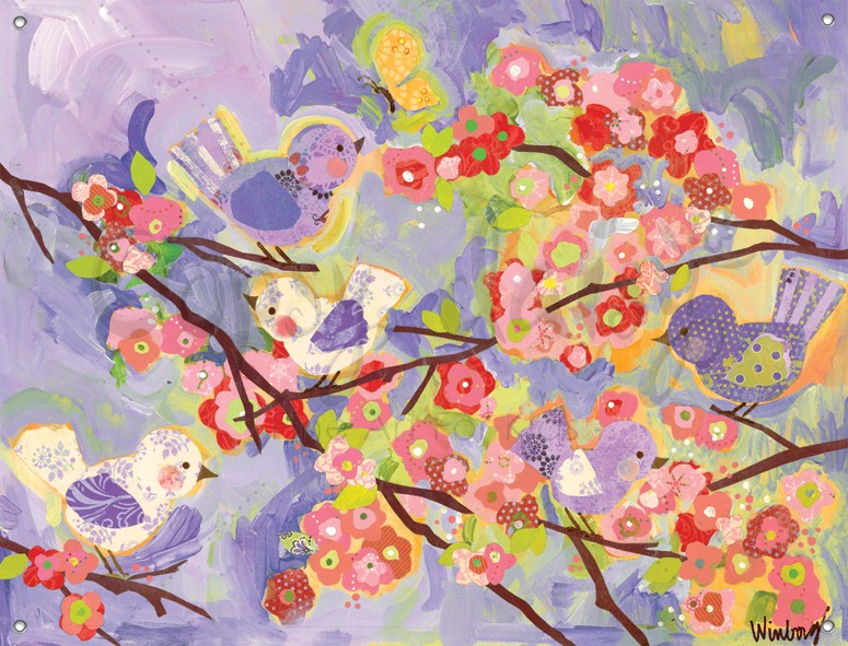 Cherry blossom birdies lavender and coral canvas wall mural for Cherry blossom mural
